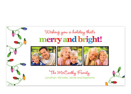 Lights on Left White Christmas Photo Cards