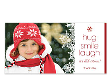 Hug Smile Laugh Christmas Photo Cards