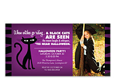 Black Cats Halloween Photo Invitation Cards