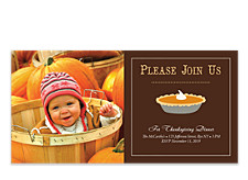 Pumpkin Pie Photo Thanksgiving Invitation Cards