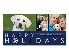 Paws Blue Christmas Photo Cards