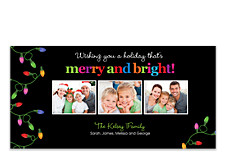 Lights on Left Black Christmas Photo Cards