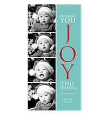 Joyful Season Blue Christmas Photo Cards