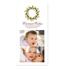Warm Wishes Wreath Photo Christmas Cards