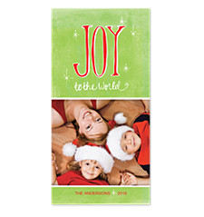 Joy to The World Twinkle Photo Christmas Cards