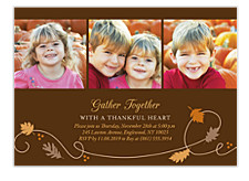 Leaves Photo Thanksgiving Invitation Cards