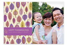 Leaf Pattern Burnt Umber Thanksgiving Photo Cards