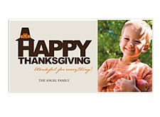 Pilgrim Cap Happy Thanksgiving Photo Cards
