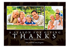 Seasons Brown Happy Thanksgiving Photo Cards