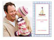 Gingham Sail Blue Father's Day Cards