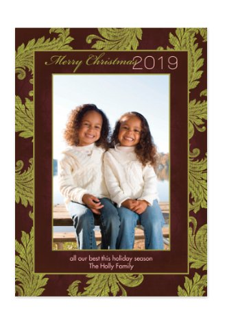 Floral Flourish Holiday Photo Cards