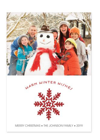 Warm Winter Wishes in Red Photo Cards