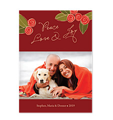 Christmas Peony Holiday Photo Cards