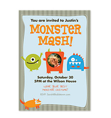 Monster Mash Vertical Photo Kid Party Invitations