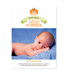 Little Pumpkin Photo Birth Announcements