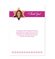 Shining Star Bat Mitzvah Thank You Cards