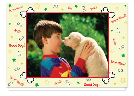 Puppy Love Beige Holiday Photo Cards