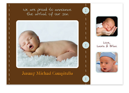 Scrapbook in Brown Birth Announcement Photo Cards