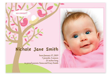 So Sweet Pink Photo Birth Announcement Cards