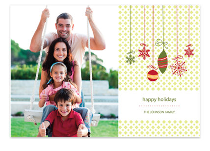 Dangling Ornaments Christmas Photo Cards
