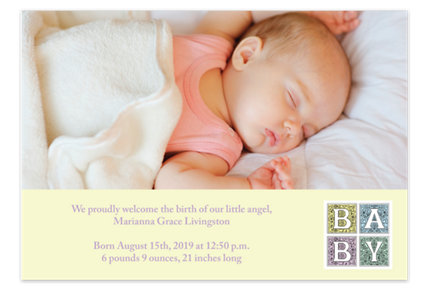 Renaissance Neutral Birth Announcement Cards