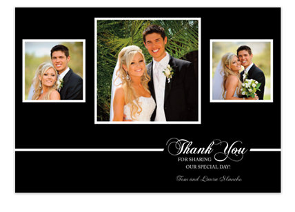 Black Tie Wedding Thank You Photo Cards