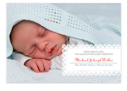 Frills Photo Birth Announcement Cards