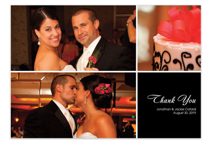 Three Photo Floating Right Box Photo Wedding Thank You Cards