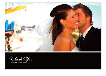 One Photo Black Banner Photo Wedding Thank You Cards