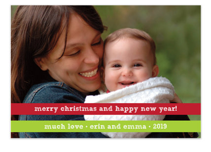 Red and Green Ribbon Holiday Cards