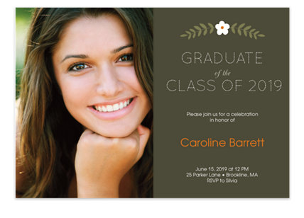 Simple Floral Graduation Photo Party Invitation Cards