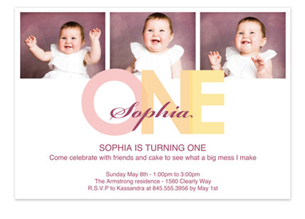 Turning One Kid Birthday Party Invitations
