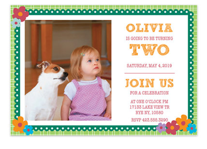 Flowers on Plaid Kid Birthday Party Invitations