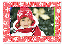 Poinsettia Lace Christmas Photo Cards
