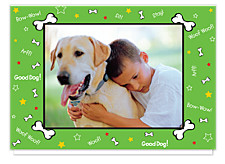 Puppy Love Green Holiday Photo Cards