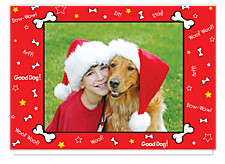 Puppy Love Red Holiday Photo Cards