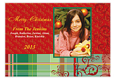 Red Plaid Scrolls Christmas Photo Cards