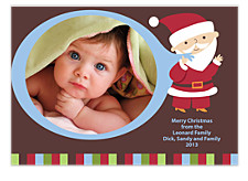 Blue Santa Christmas Photo Cards