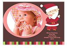 Pink Santa Photo Christmas Cards