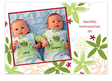 White Floral Holiday Photo Cards