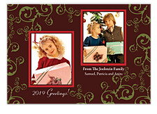Duet Swirls Christmas Photo Cards