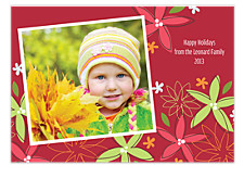 Red Floral Photo Holiday Cards