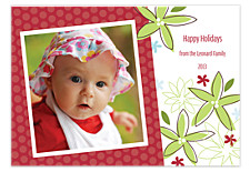 Red & White Floral Christmas Photo Cards