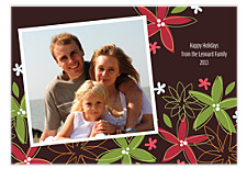 Brown Floral Holiday Photo Cards