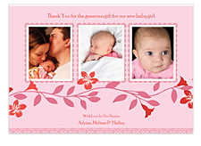 Blush Three Photo Thank You Cards