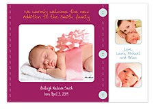 Scrapbook in Purple Baby Birth Announcement Photo Cards