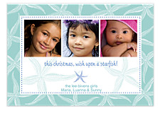 Starfish Teal Holiday Photo Cards