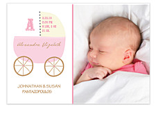 Baby Carriage Pink Photo Birth Announcement Cards