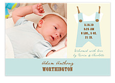 Dress Me Blue Photo Birth Announcement Cards