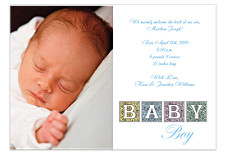 Priceless Blue Photo Birth Announcement Cards